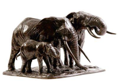 Éléphantes d'Afrique s'abreuvant (ÉPUISÉ)