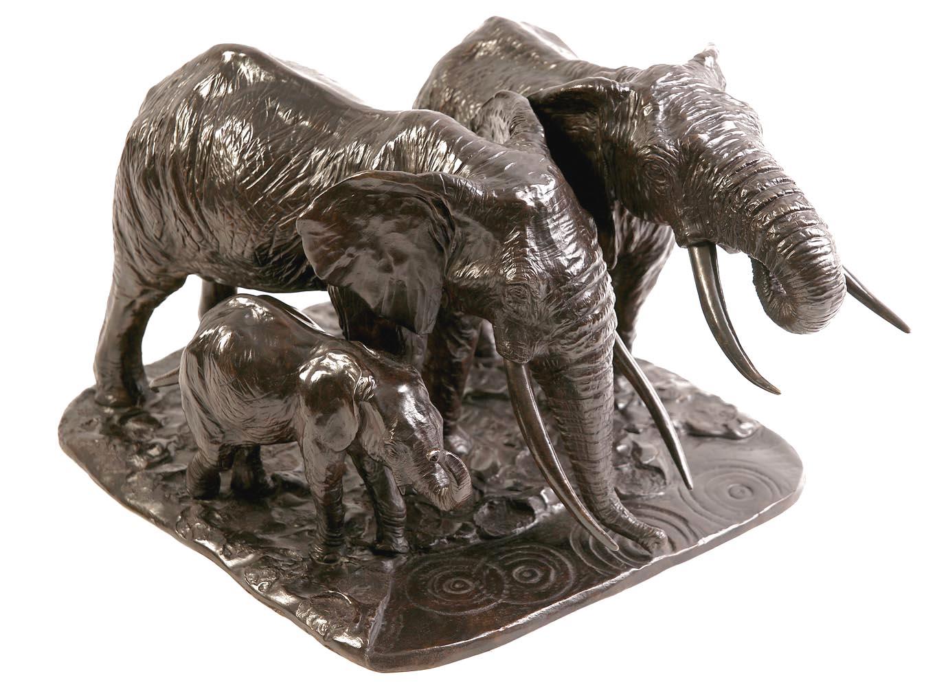Sculpture en bronze d'un groupe d'éléphants d'Afrique
