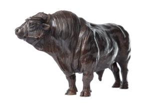 Sculpture en bronze de Coquet, grand taureau charolais