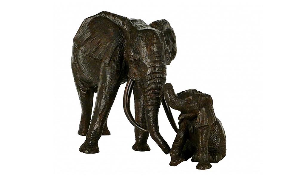 EDITION EN BRONZE DE L'ELEPHANT ET L'ELEPHANTEAU ASSIS
