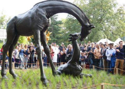 Premier contact de l'oeuvre avec le public au parc de la Tête d'Or