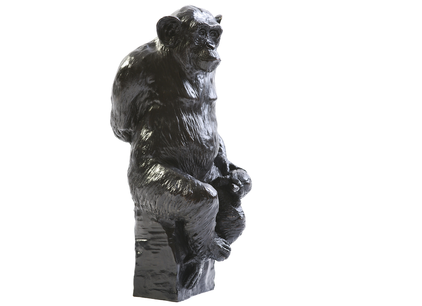 Bronze Colcombet chimpanzé avec tortue