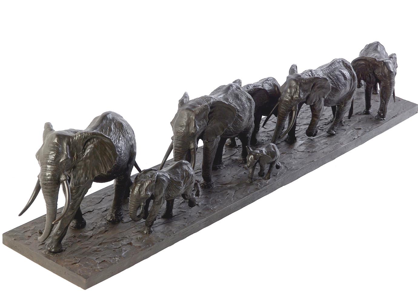 Bronze Colcombet groupe d'éléphants d'Afrique en marche