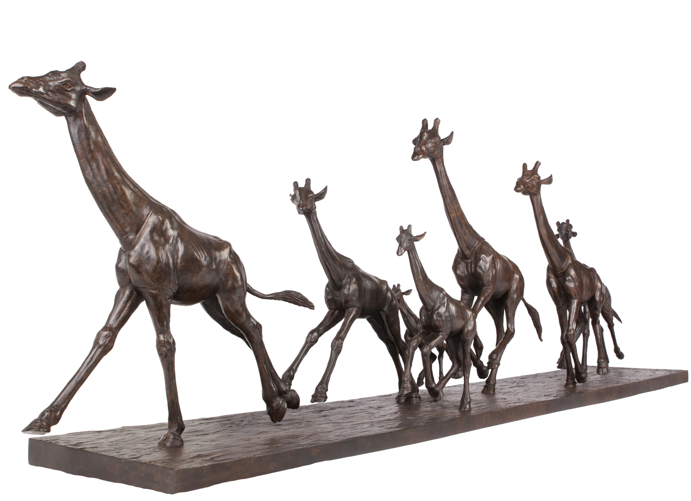 Sculpture bronze Colcombet groupe de girafes au galop