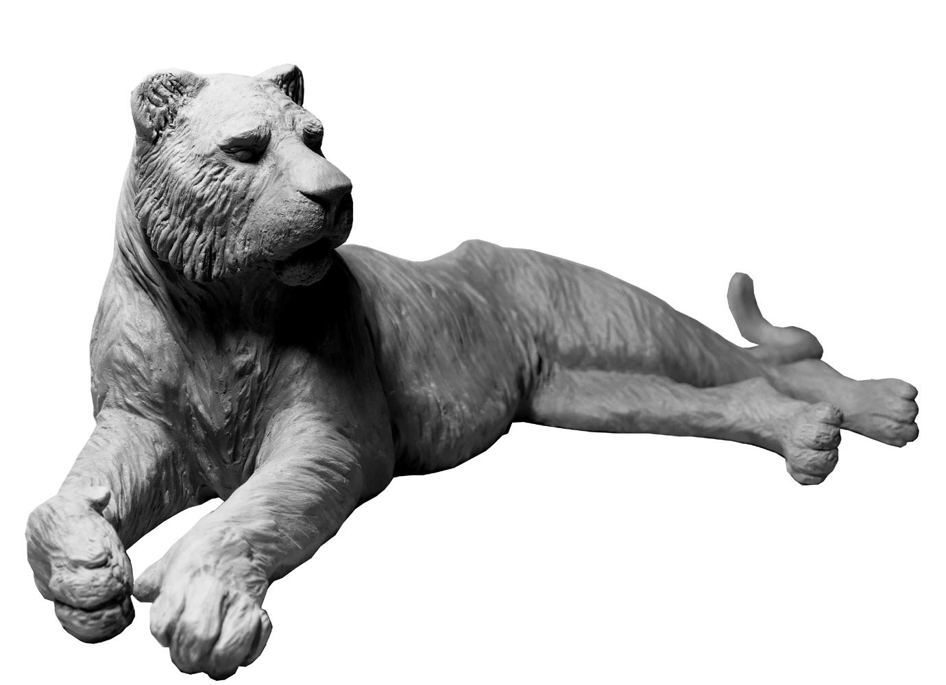 Sculpture Damien Colcombet tigresse couchée