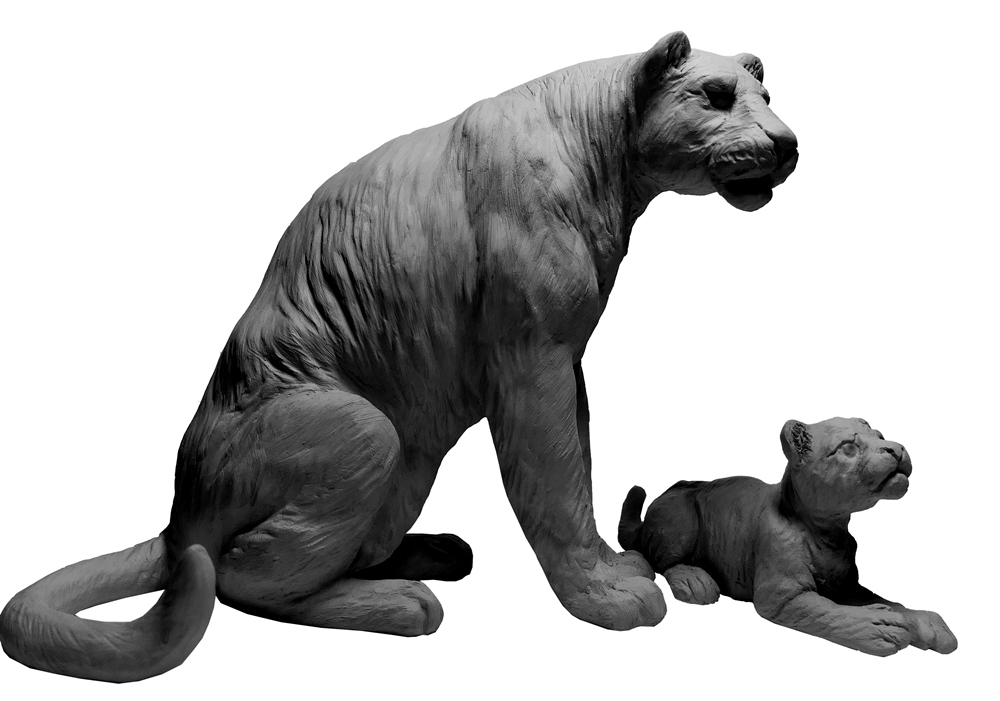 Sculpture Colcombet Panthère assise et petit