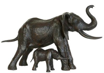 Eléphante d'Afrique protégeant son éléphanteau