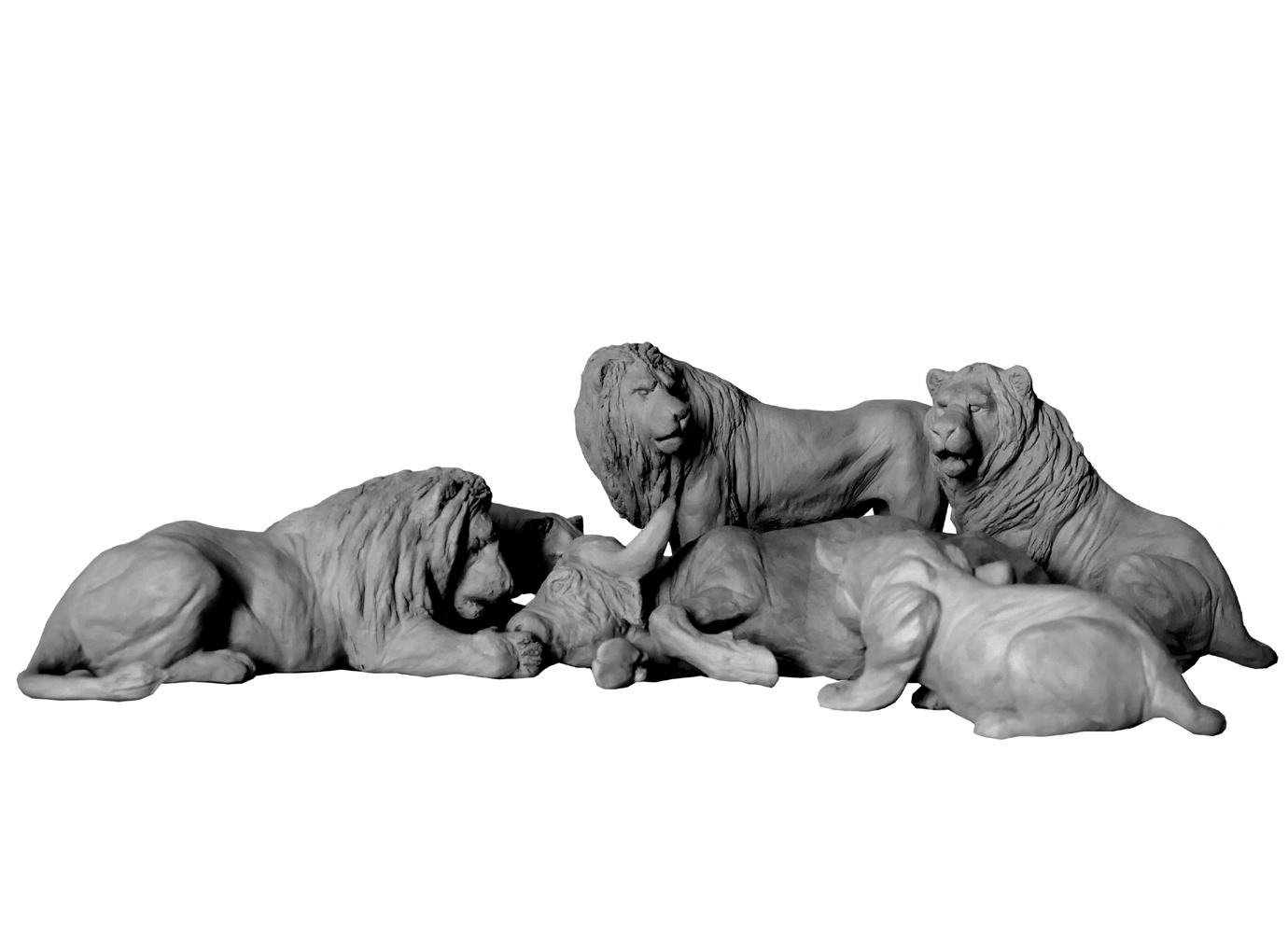 Bronze-terre-sculpture-Colcombet-lion-lionne-buffle-proie