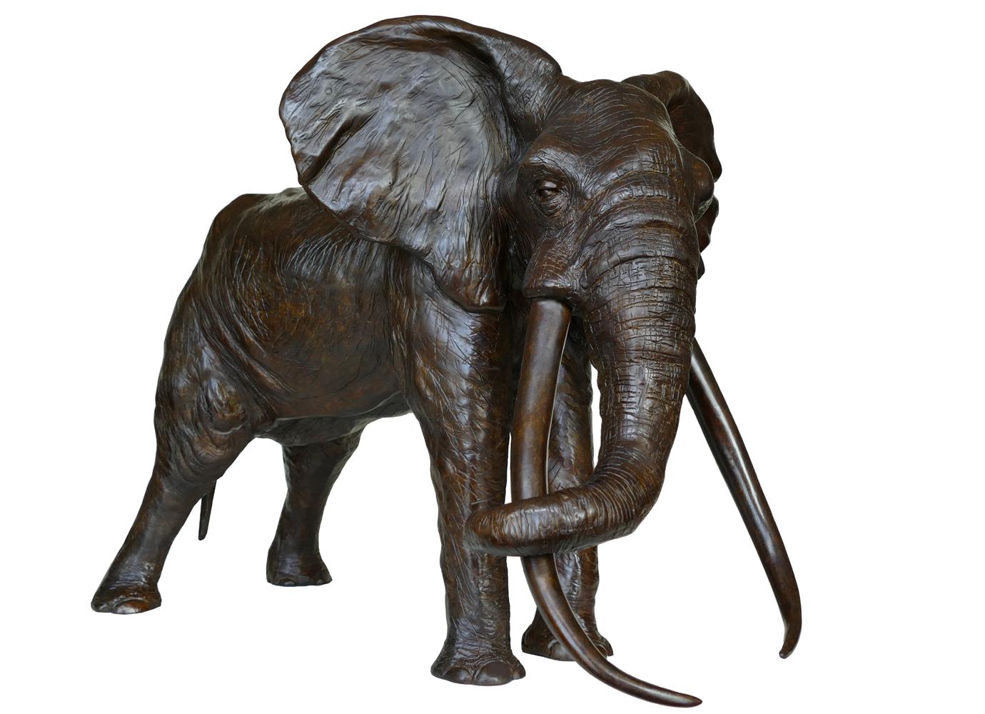 Sculpture bronze Colcombet éléphant d'Afrique patriarche