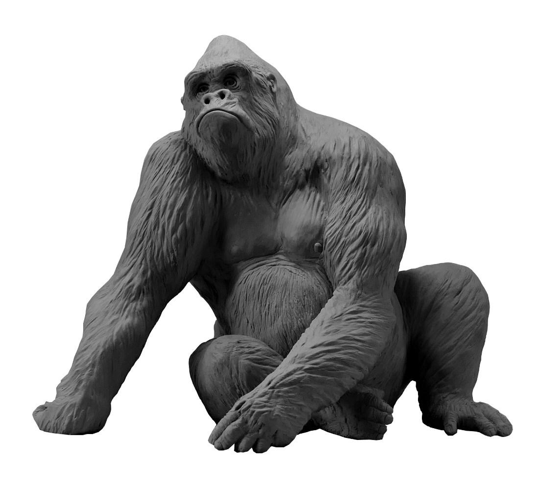 Sculpture Colcombet gorille dos argenté Pythagore