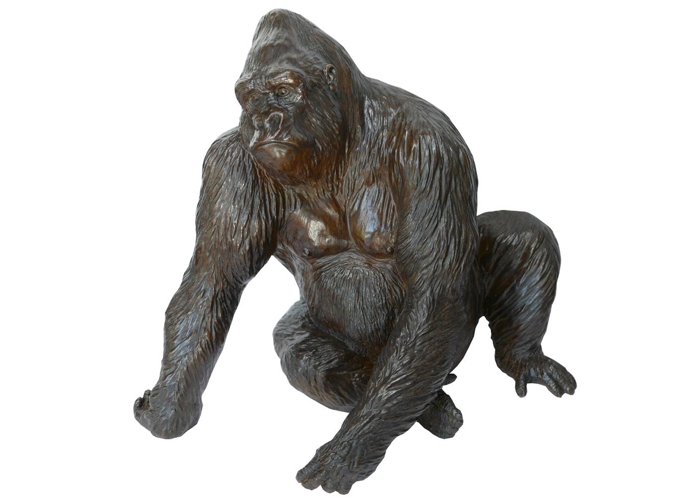 Bronze Colcombet gorille mâle dos argenté