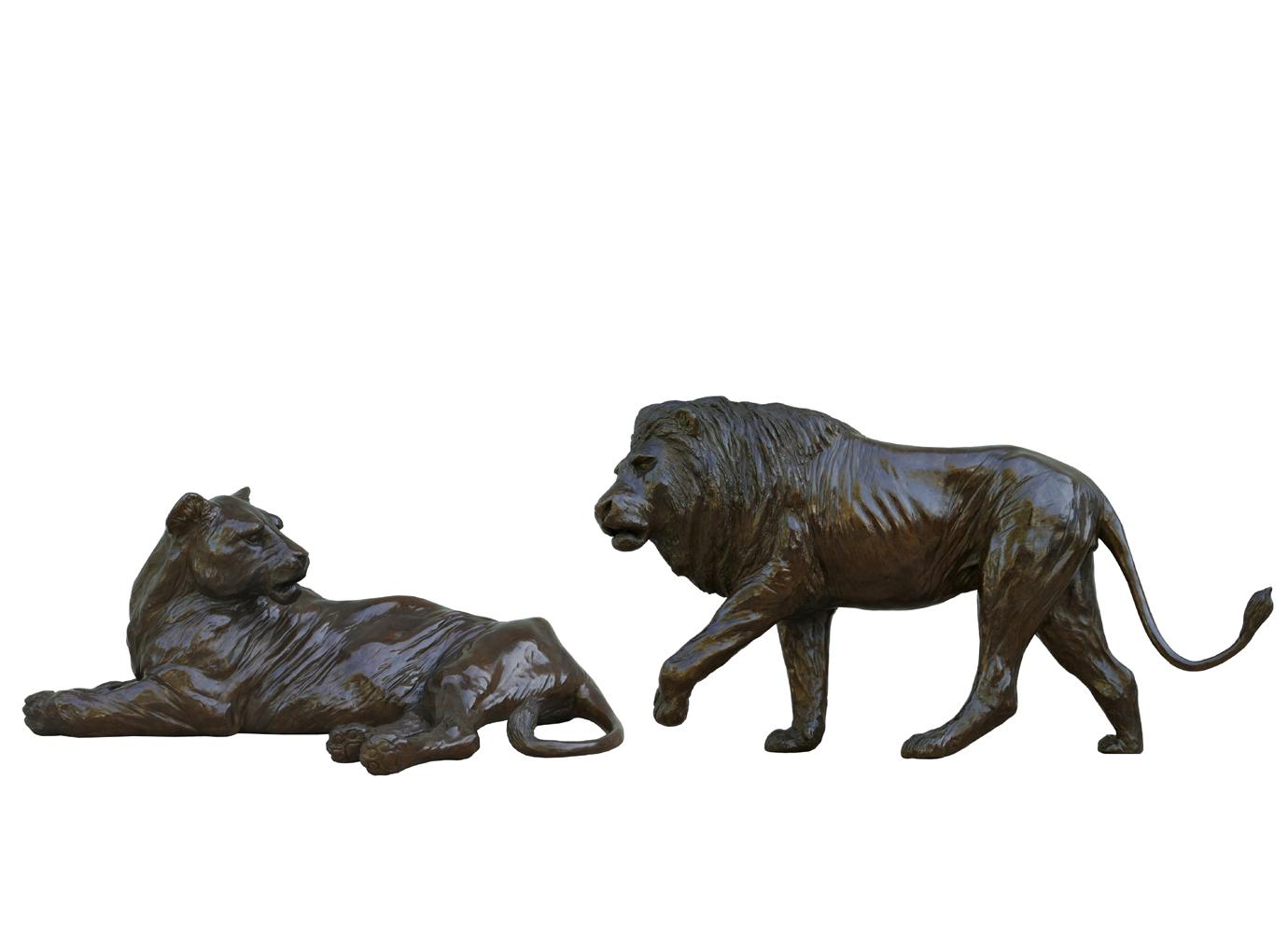 Bronze Colcombet lionne couchée lion marchant