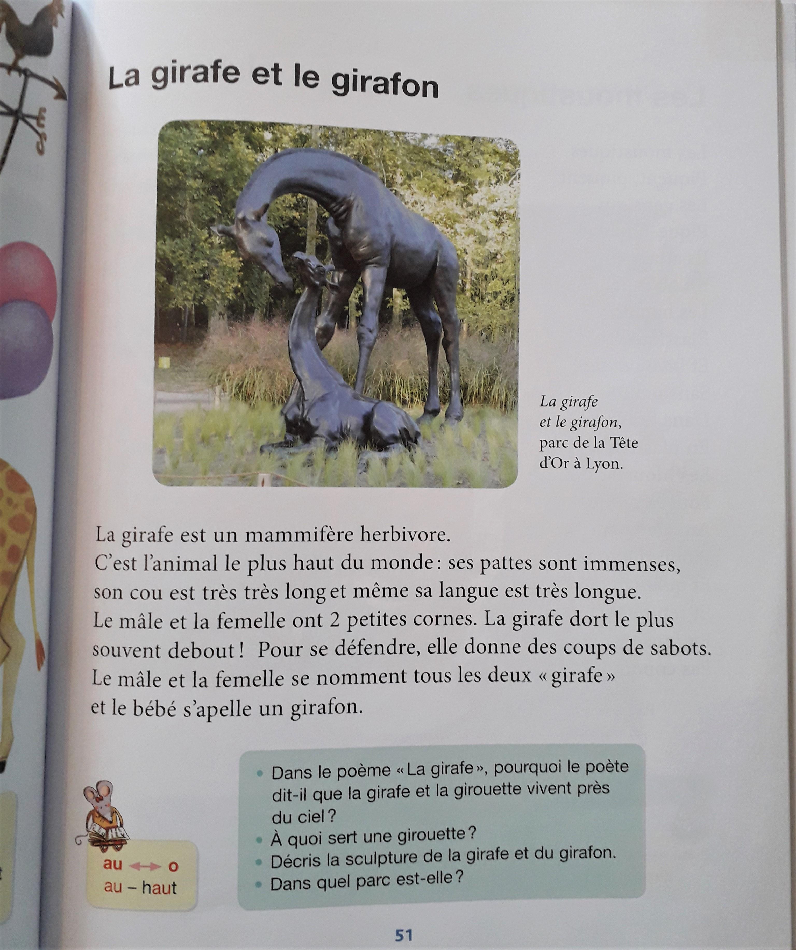Sculpture Colcombet girafes Lyon lecture CP
