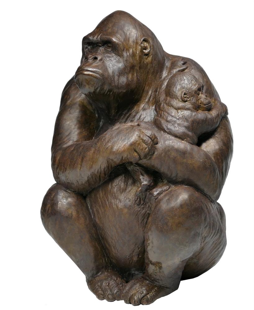 Sculpture Colcombet bronze gorille femelle petit